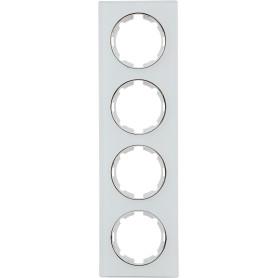 Рамка для розеток и выключателей Onekey Florence 4 поста, стекло, цвет белый