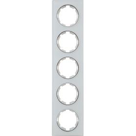 Рамка для розеток и выключателей Onekey Florence 5 постов, стекло, цвет белый