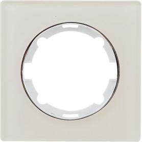 Рамка для розеток и выключателей Onekey Florence 1 пост, стекло, цвет бежевый