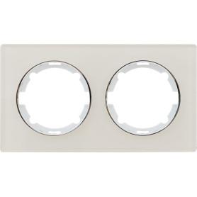 Рамка для розеток и выключателей Onekey Florence 2 поста, стекло, цвет бежевый