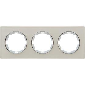 Рамка для розеток и выключателей Onekey Florence 3 поста, стекло, цвет бежевый