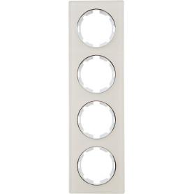Рамка для розеток и выключателей Onekey Florence 4 поста, стекло, цвет бежевый