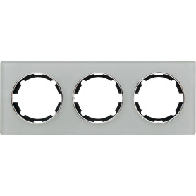 Рамка для розеток и выключателей Onekey Florence 3 поста, стекло, цвет серый