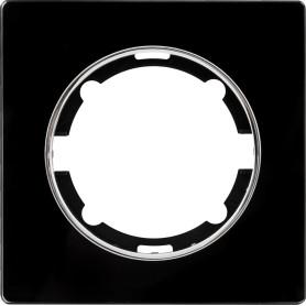Рамка для розеток и выключателей Onekey Florence 1 пост, стекло, цвет черный