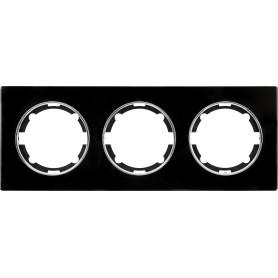 Рамка для розеток и выключателей Onekey Florence 3 поста, стекло, цвет черный