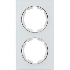 Рамка для розеток и выключателей Onekey Florence 2 поста вертикальная, стекло, цвет белый