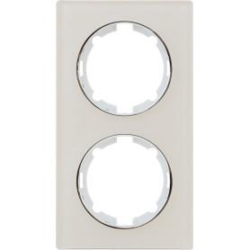 Рамка для розеток и выключателей Onekey Florence 2 поста вертикальная, стекло, цвет бежевый
