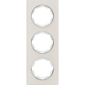Рамка для розеток и выключателей Onekey Florence 3 поста вертикальная, стекло, цвет бежевый