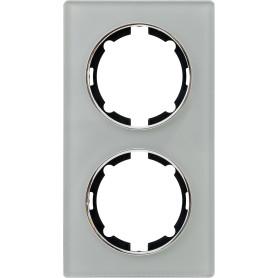 Рамка для розеток и выключателей Onekey Florence 2 поста вертикальная, стекло, цвет серый