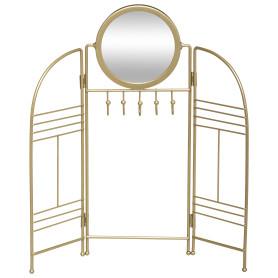 Держатель для украшений Chic с зеркалом, круг, 32x33 см, цвет золото