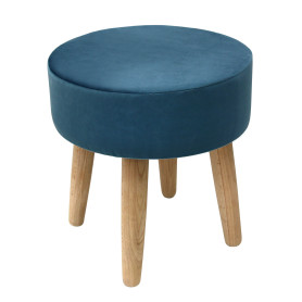 Табурет с мягкой обивкой, круглый, цвет синий
