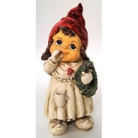 Украшение новогоднее «Девочка-мультяшная с венком», 17 см