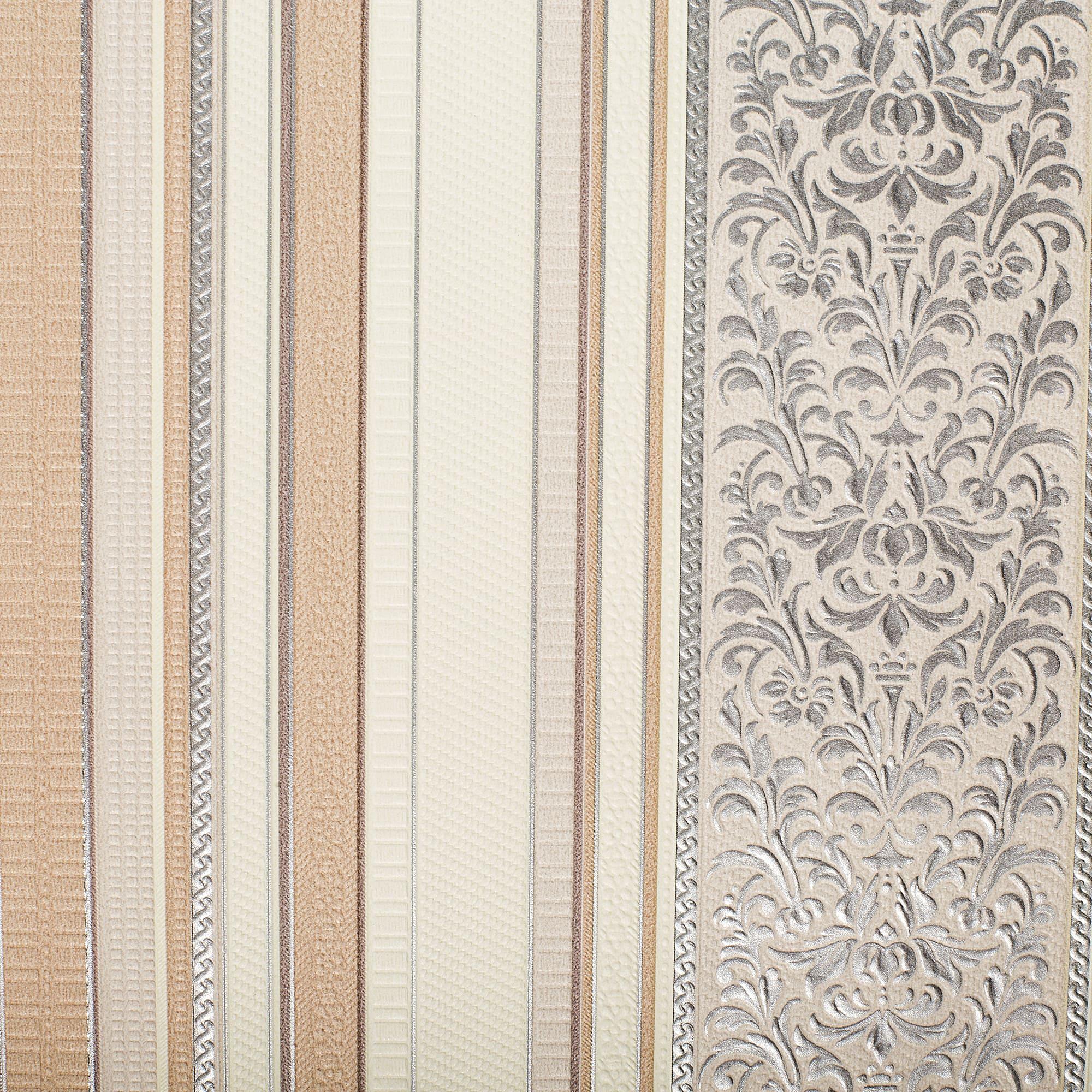 847149b75ad Обои бумажные Роксана 07 0.53х10 м полосы цвет серо-персиковый в ...