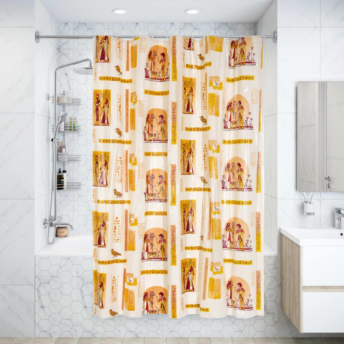 Штора для ванной комнаты «Египет» 180х180 см цвет бежевый