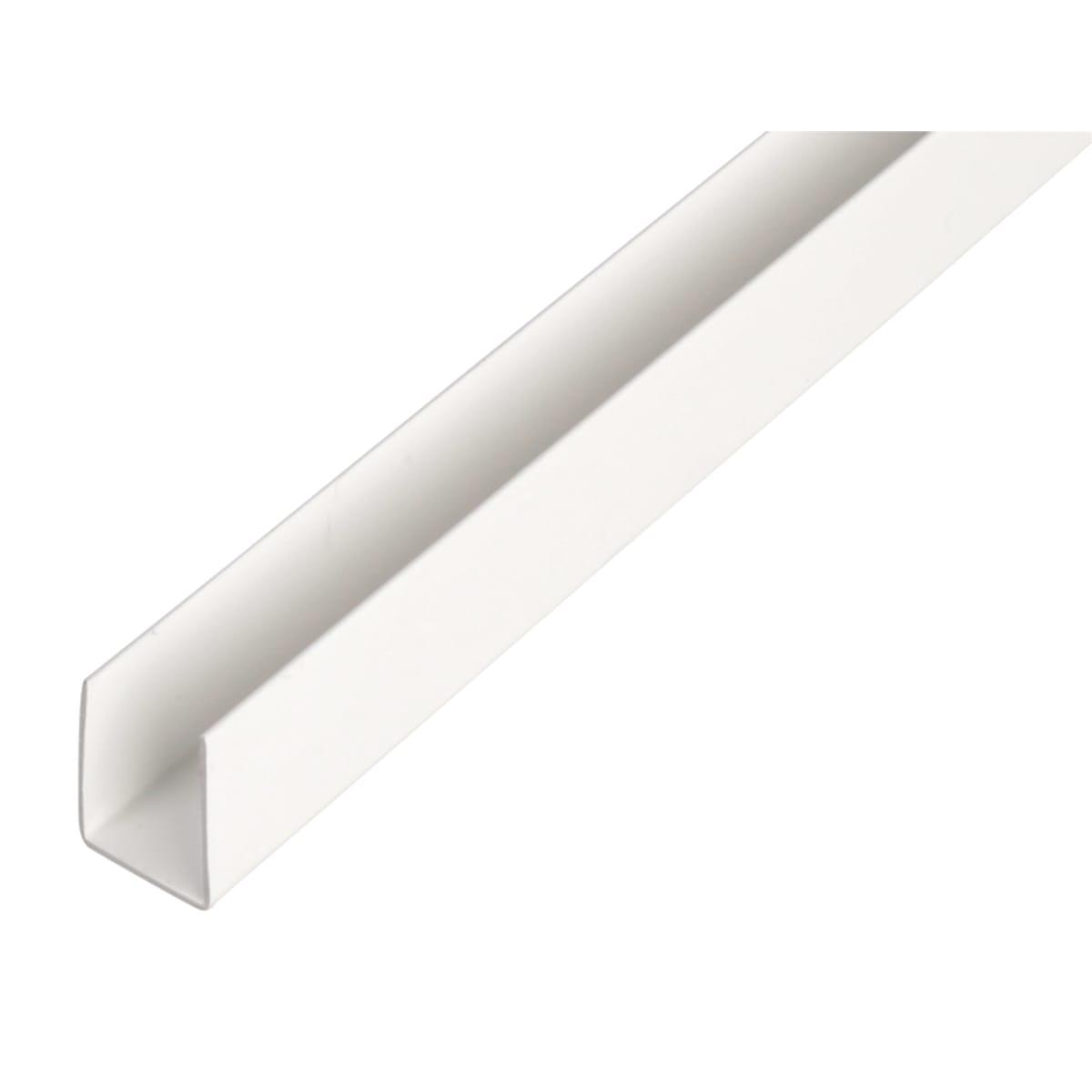 U-Профиль ПВХ 21x20x1x1000 мм, цвет белый