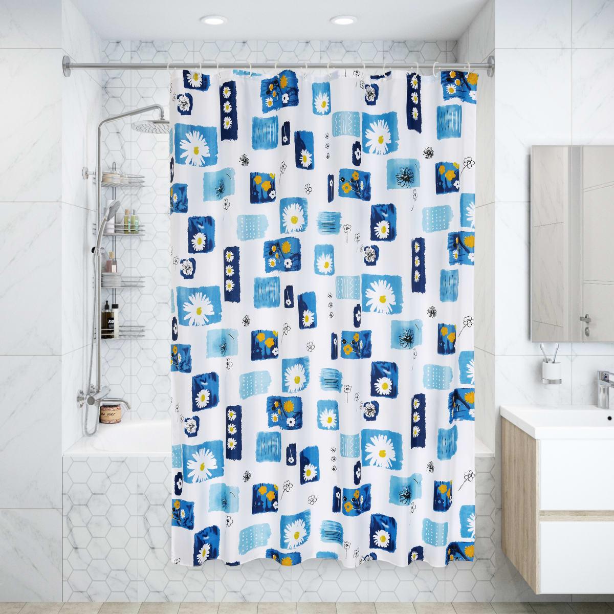 Штора для ванной комнаты «Микс» в мешочке 180х200 см цвет синий