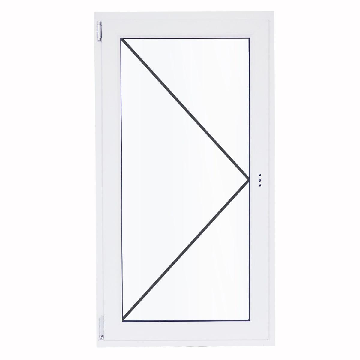 Окно ПВХ одностворчатое 90(87)х60 см поворотно-откидное левое