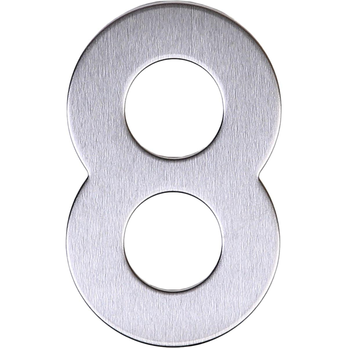 Цифра «8» самоклеящаяся 95х62 мм нержавеющая сталь цвет серебро