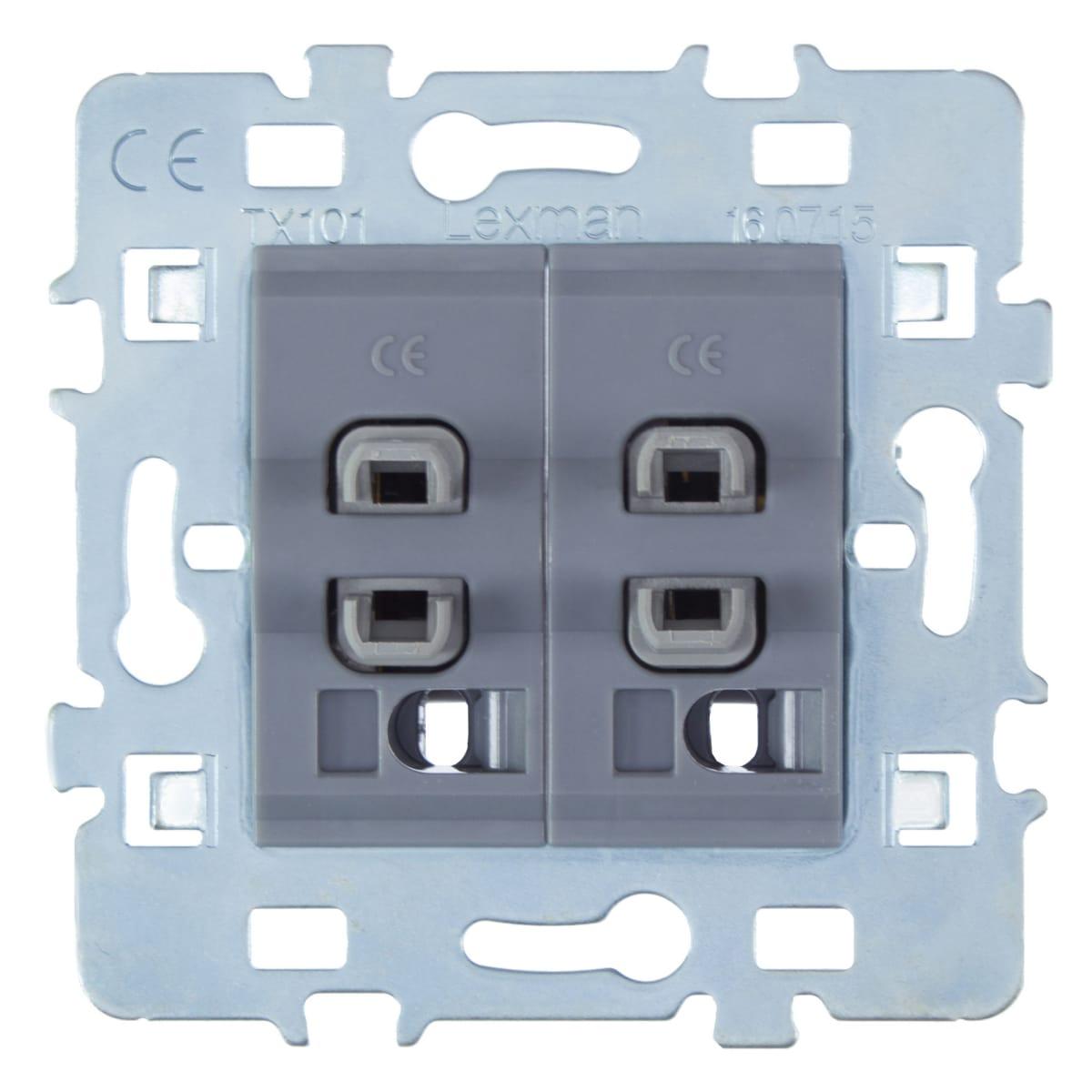 Выключатель встраиваемый Lexman Cosy 2 клавиши, цвет серый