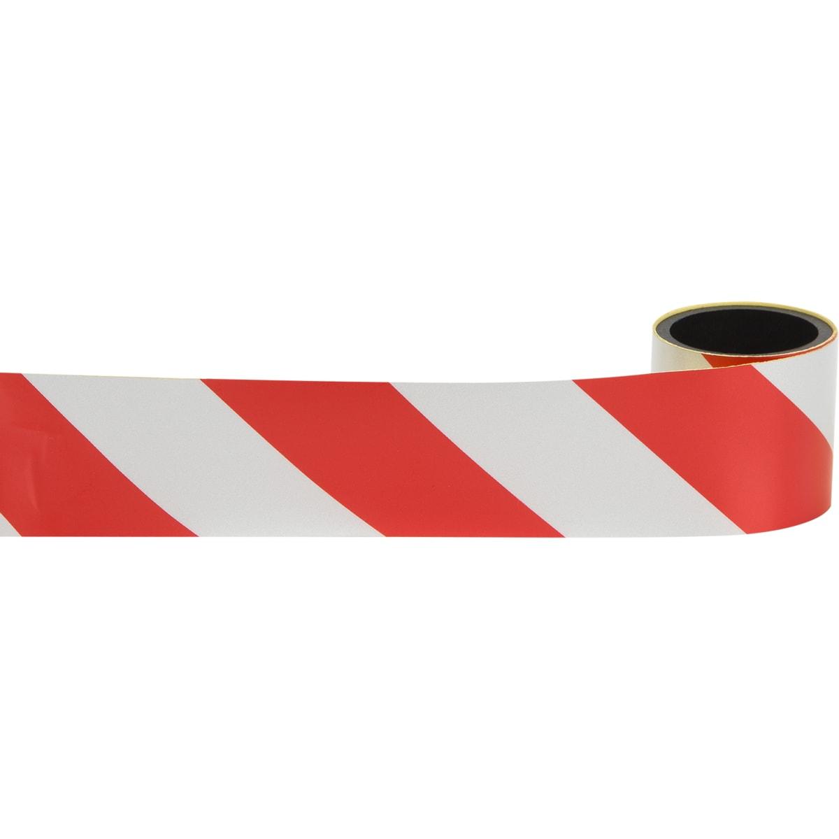 Лента светоотражающая самоклеящаяся 100х5 см цвет красно-белый