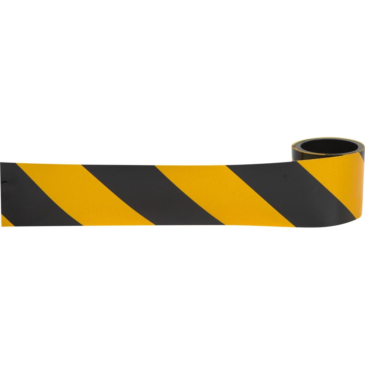 Лента светоотражающая самоклеящаяся 100х5 см цвет жёлто-чёрный
