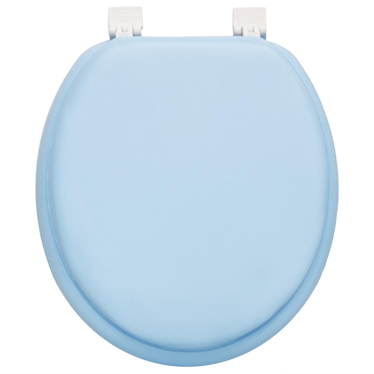 Сиденье для унитаза мягкое, цвет голубый