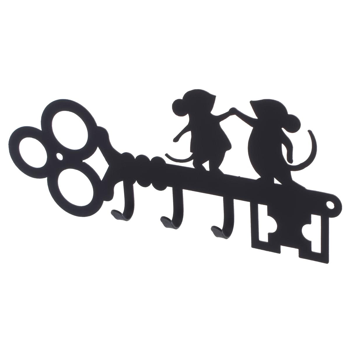 Ключница DuckandDog «Мыши», 190х99х19 мм, сталь, цвет чёрный матовый