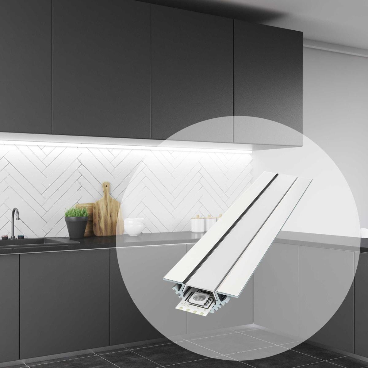 Профиль для светодиодной ленты угловой с креплением 1 м