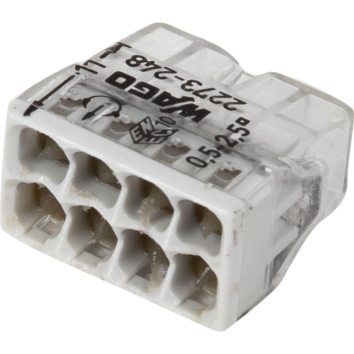Клемма соединительная Wago, 8 разъёмов под провода с пастой, 18х10.4х16.7 мм, 6 шт.