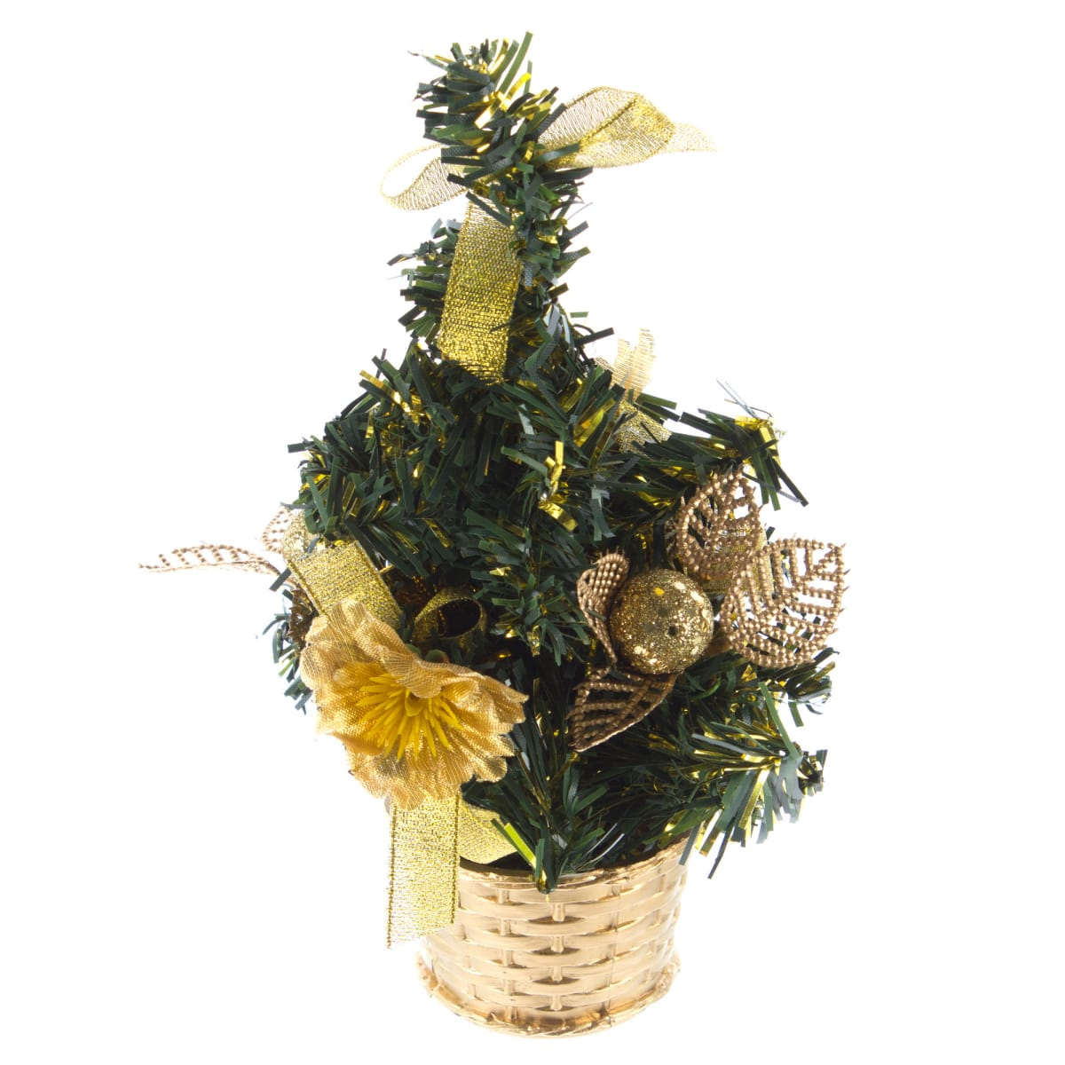 Ель новогодняя искусственная с золотым декором 20 см