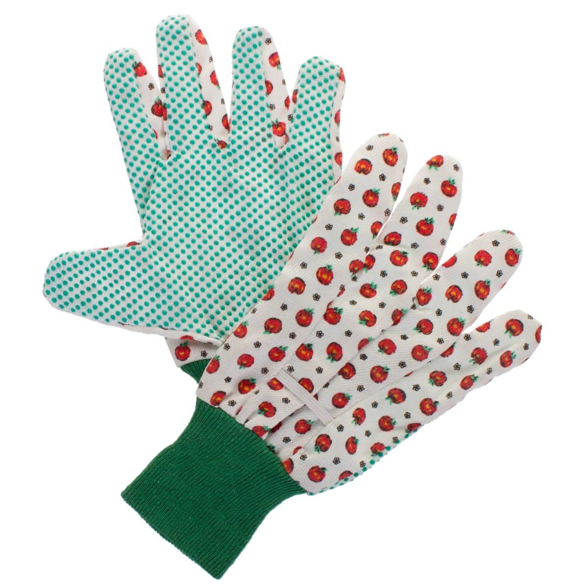Перчатки садовые с рисунком hx-33-M,  х/б-ПВХ