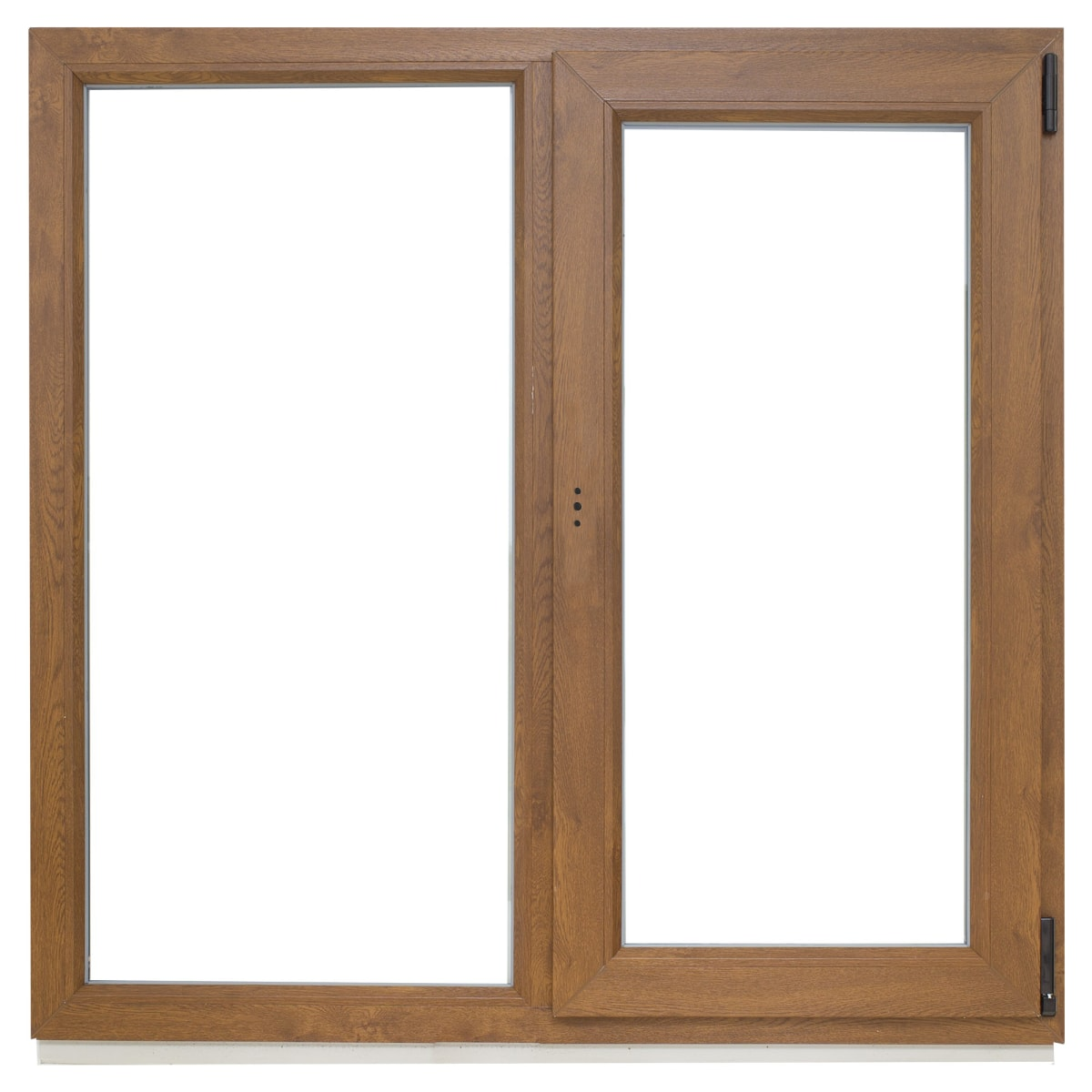 Окно ПВХ двустворчатое 120х100 см глухое/поворотное правое, цвет золотой дуб