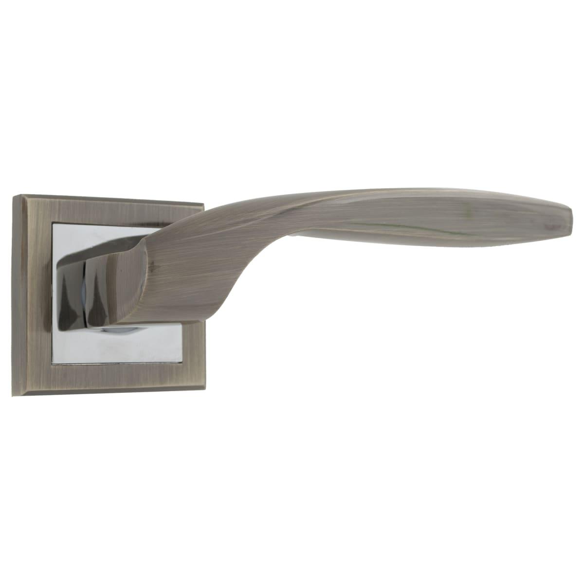 Ручки дверные на розетке Kerron DR7160, цвет бронза/хром