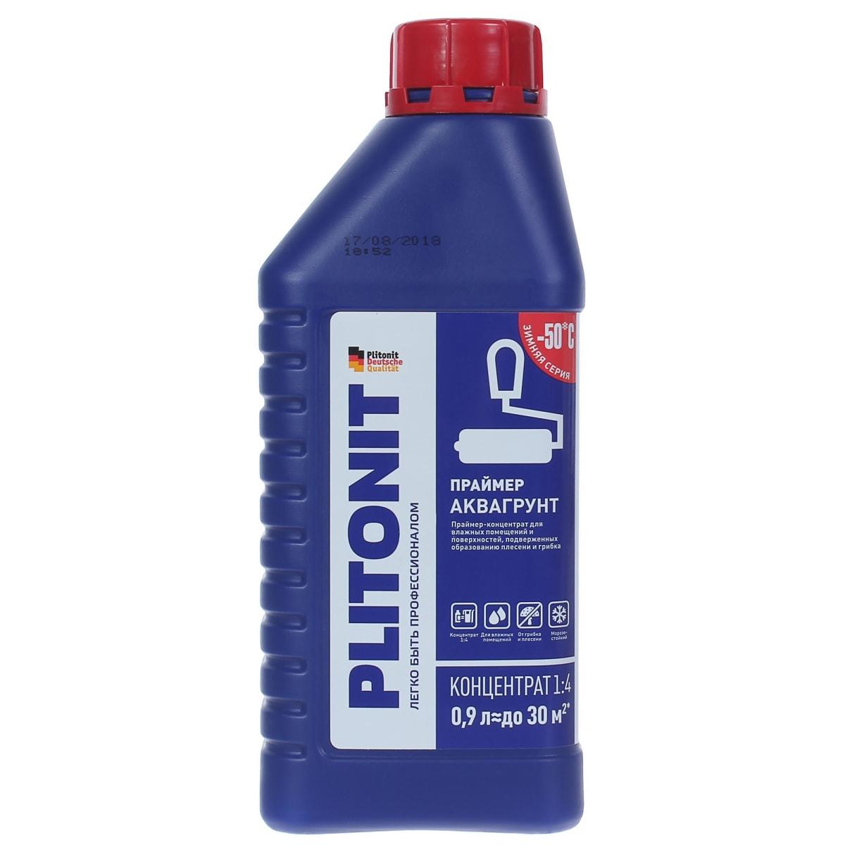 Грунтовка для влажных помещений Plitonit АкваГрунт, 0.9 л