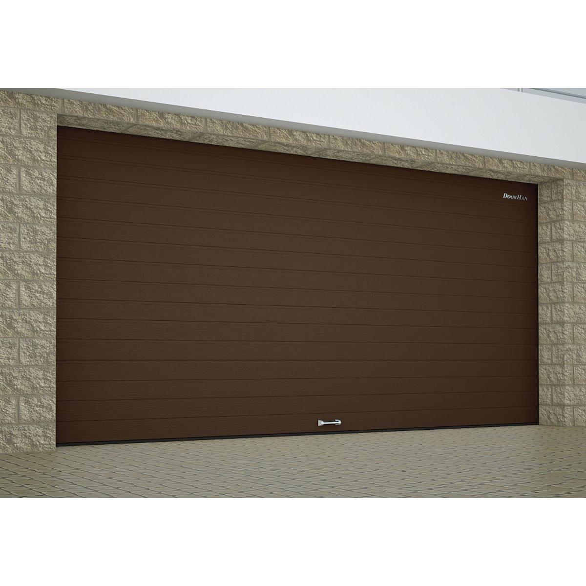 Ворота секционные RSD01SС №9, 3000x2515 мм, цвет коричневый