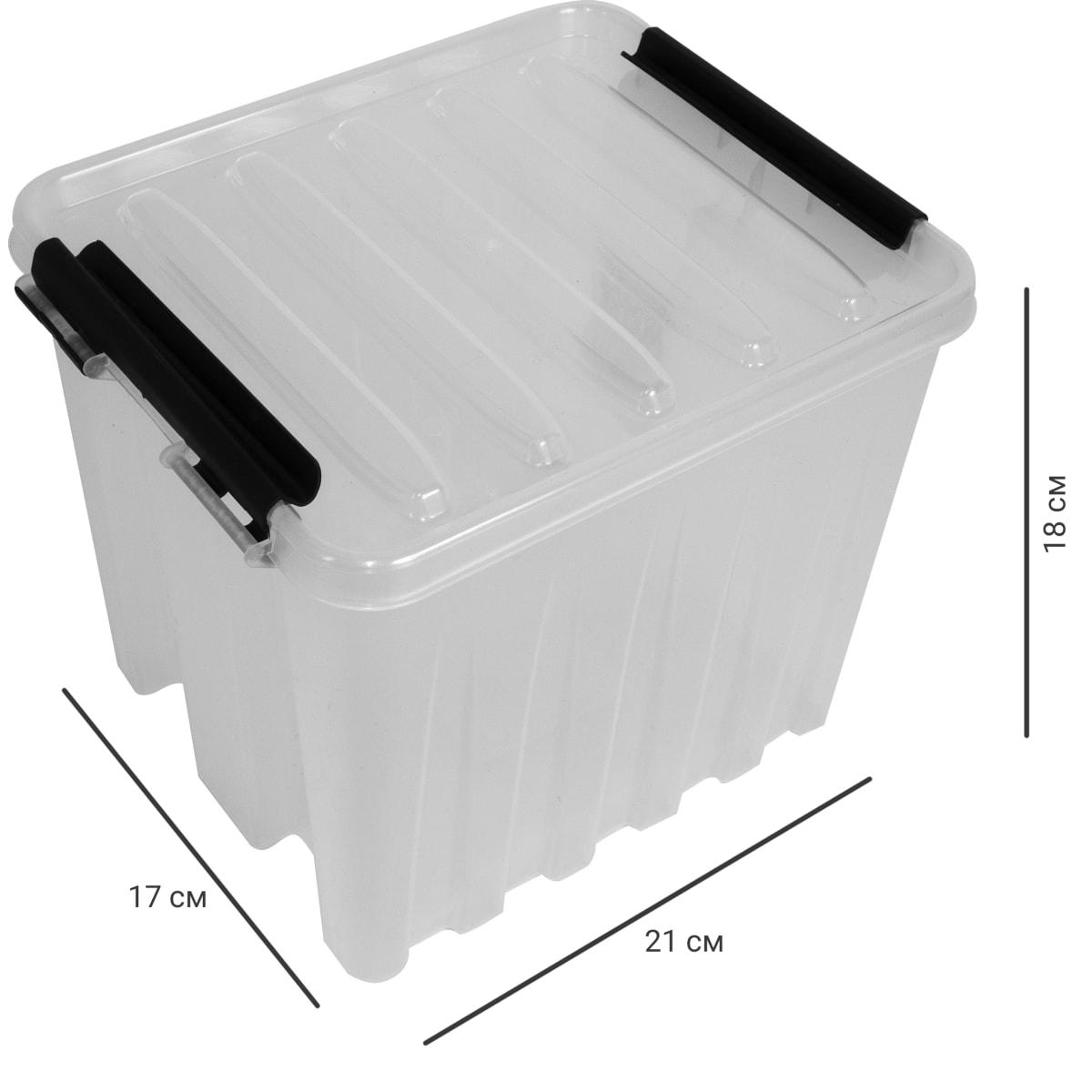 Контейнер Rox Box с крышкой 17x18x21 см, 4.5 л, пластик цвет прозрачный