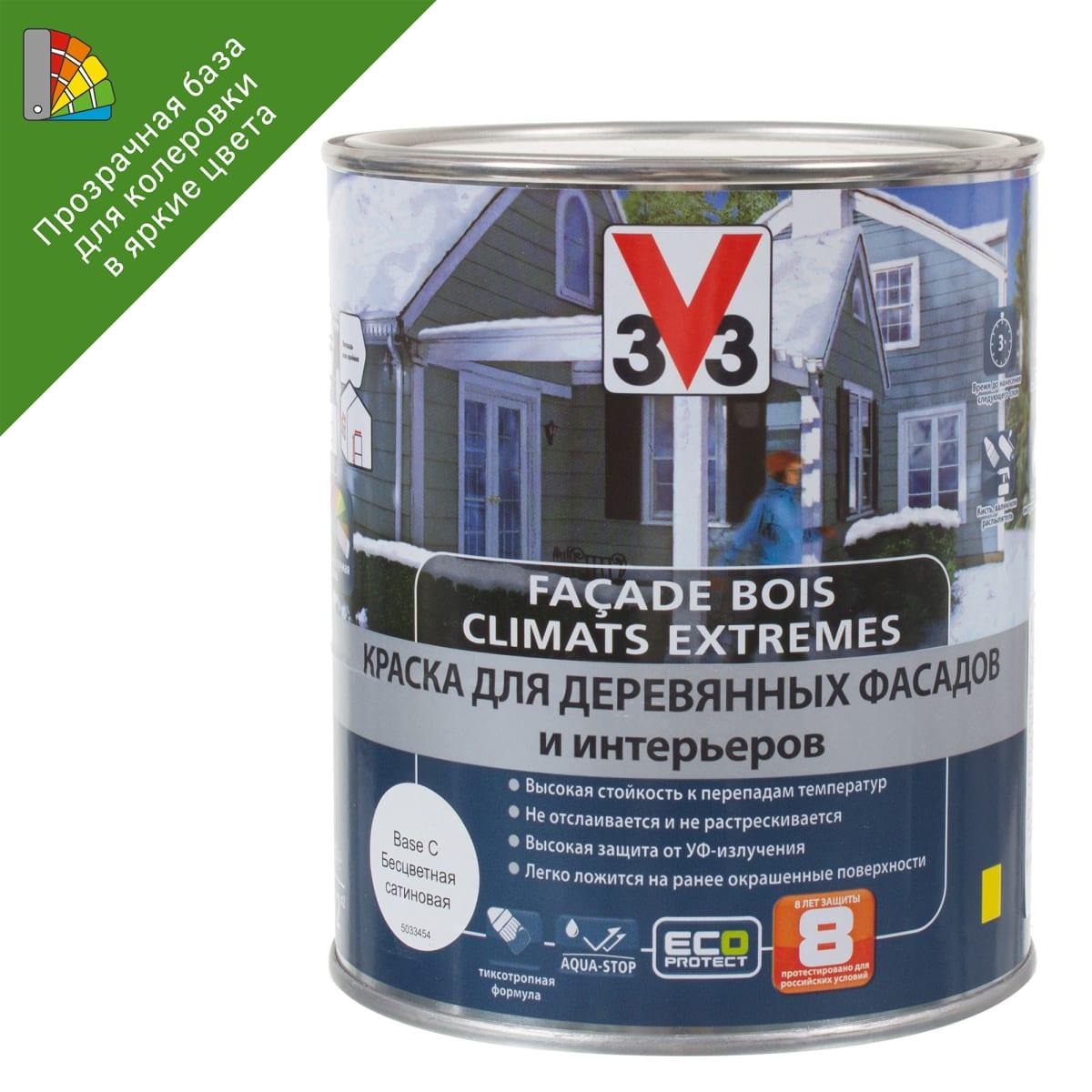 Краска для колеровки для деревянных фасадов V33 прозрачная база BC 1 л