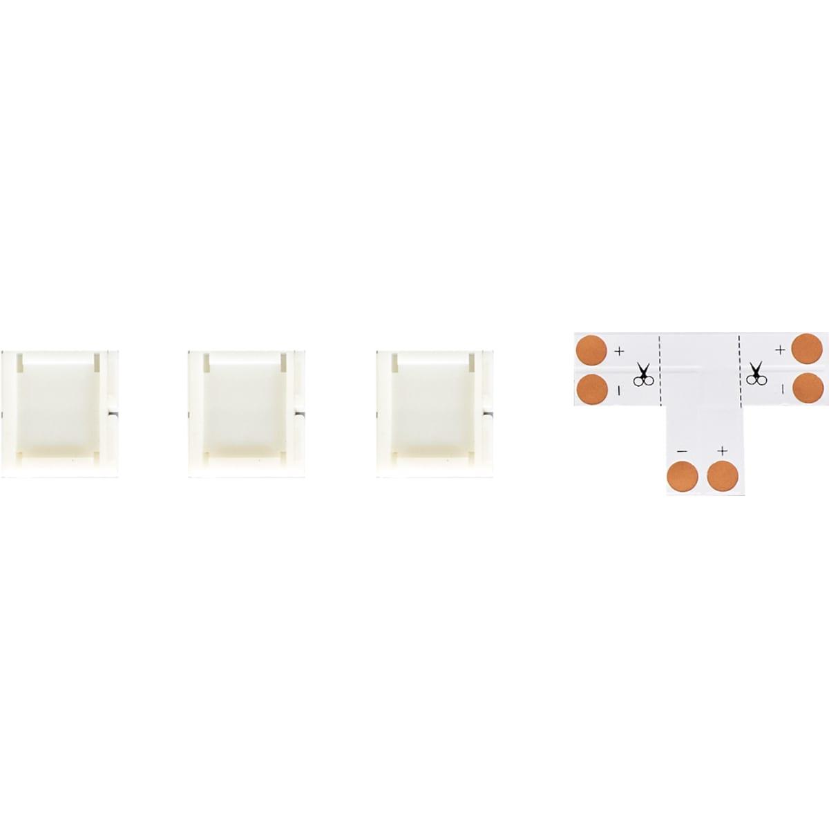 Коннект для одноцв светодиодной ленты 3014 5050 5060 5630 12 В 10 мм IP65 IP68 Т-образный 3 клипсы, контакты по центру