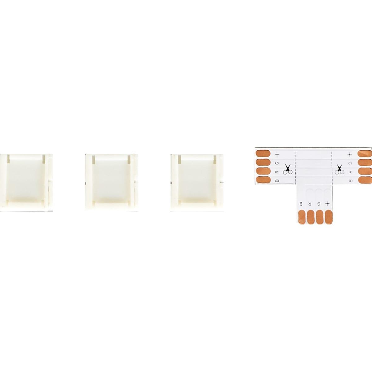Коннекторы для одноцветной светодиодной ленты 5050 12 В 10 мм IP20 IP23 Т-образный 3 клипсы, контакты по центру