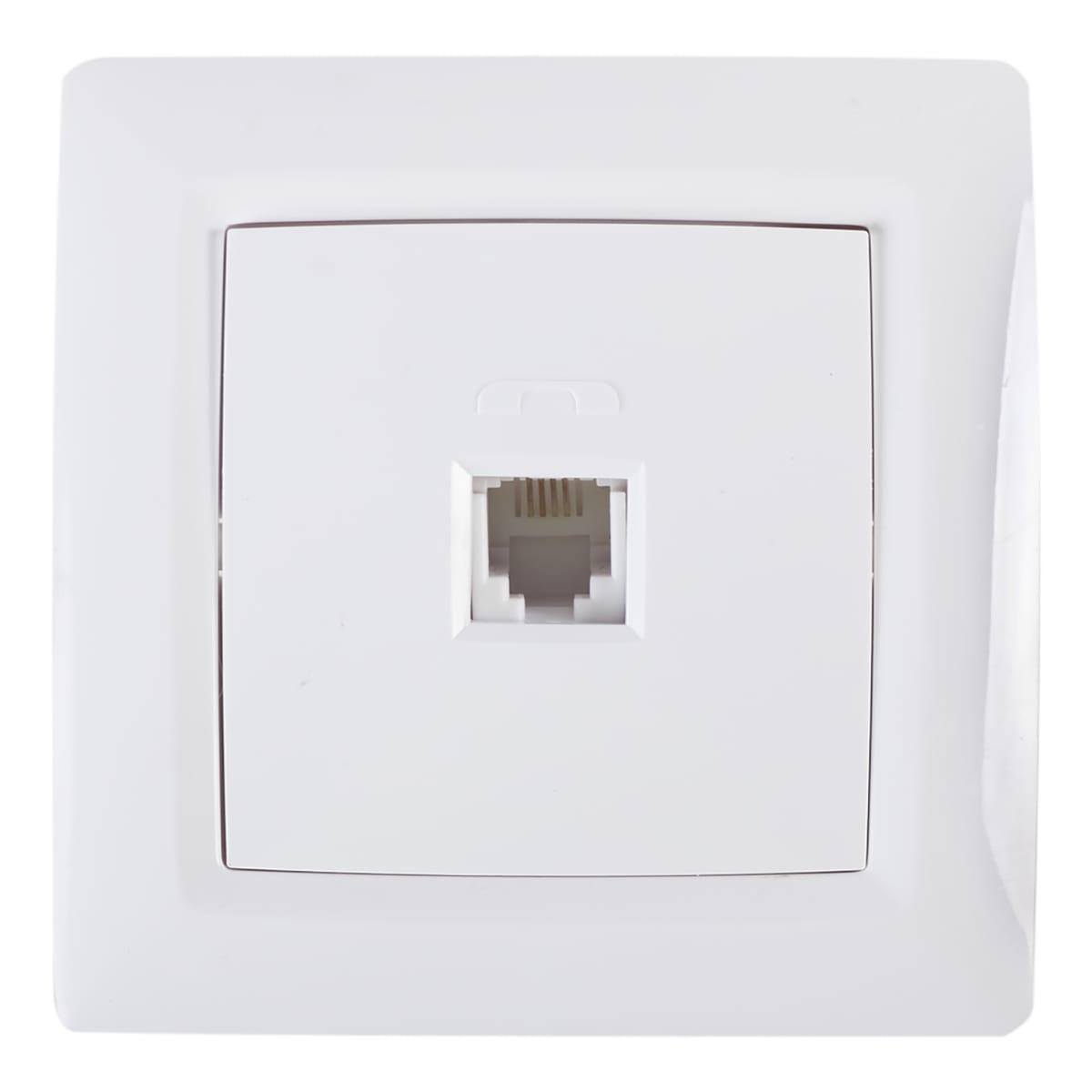 Телефонная розетка встраиваемая Reone RJ11, цвет белый