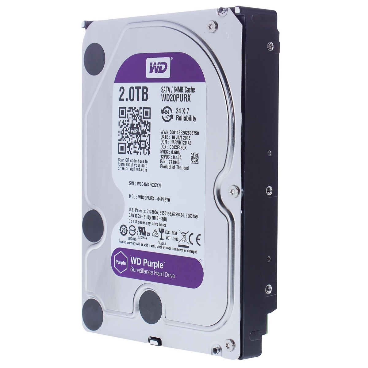 Жесткий диск Western Digital 2 Tb, 17x11x2 см, алюминий/сталь