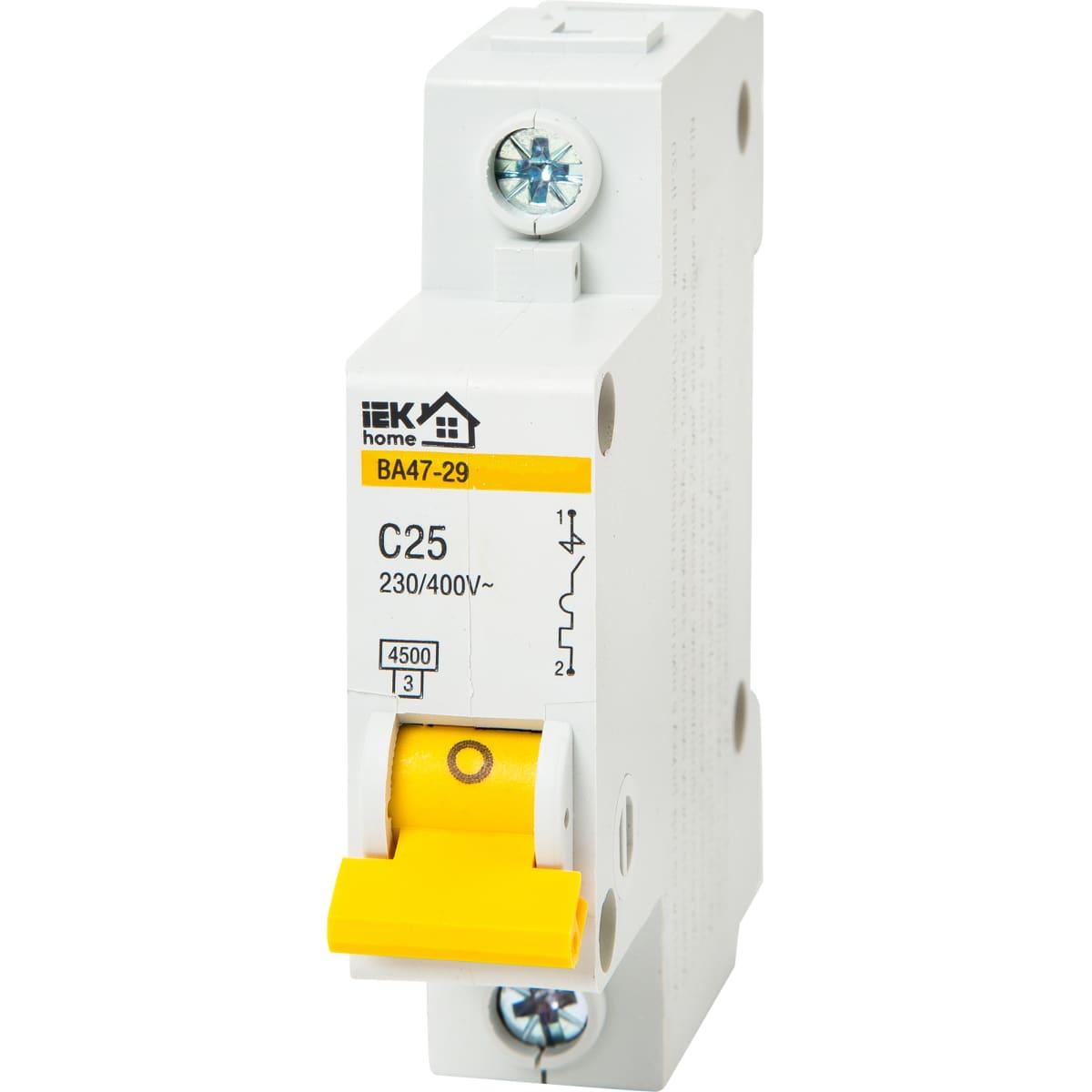 Выключатель автоматический IEK Home В А47-29 1 полюс 25 А