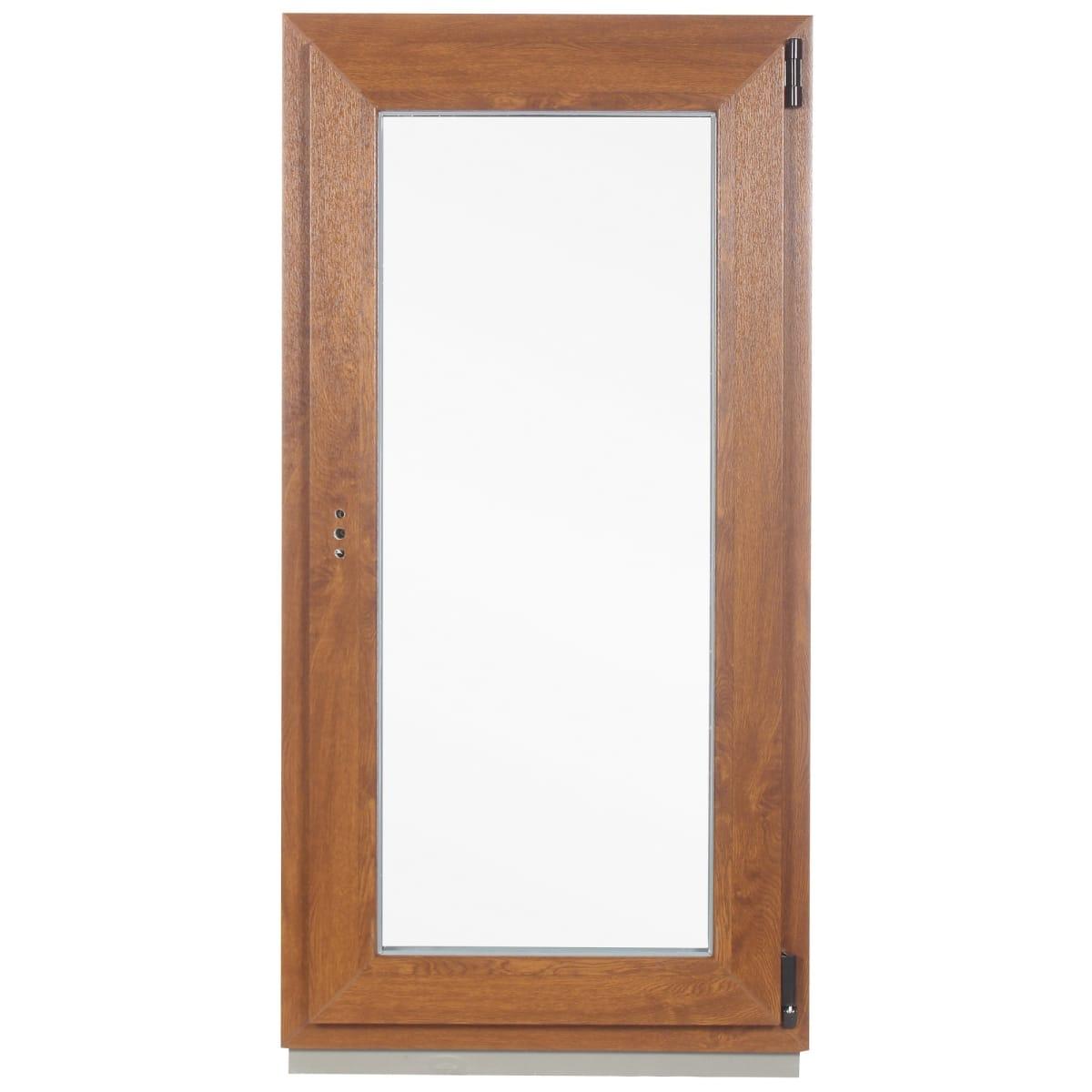 Окно ПВХ одностворчатое, 120x60 см, поворотно-откидное правое, цвет золотой