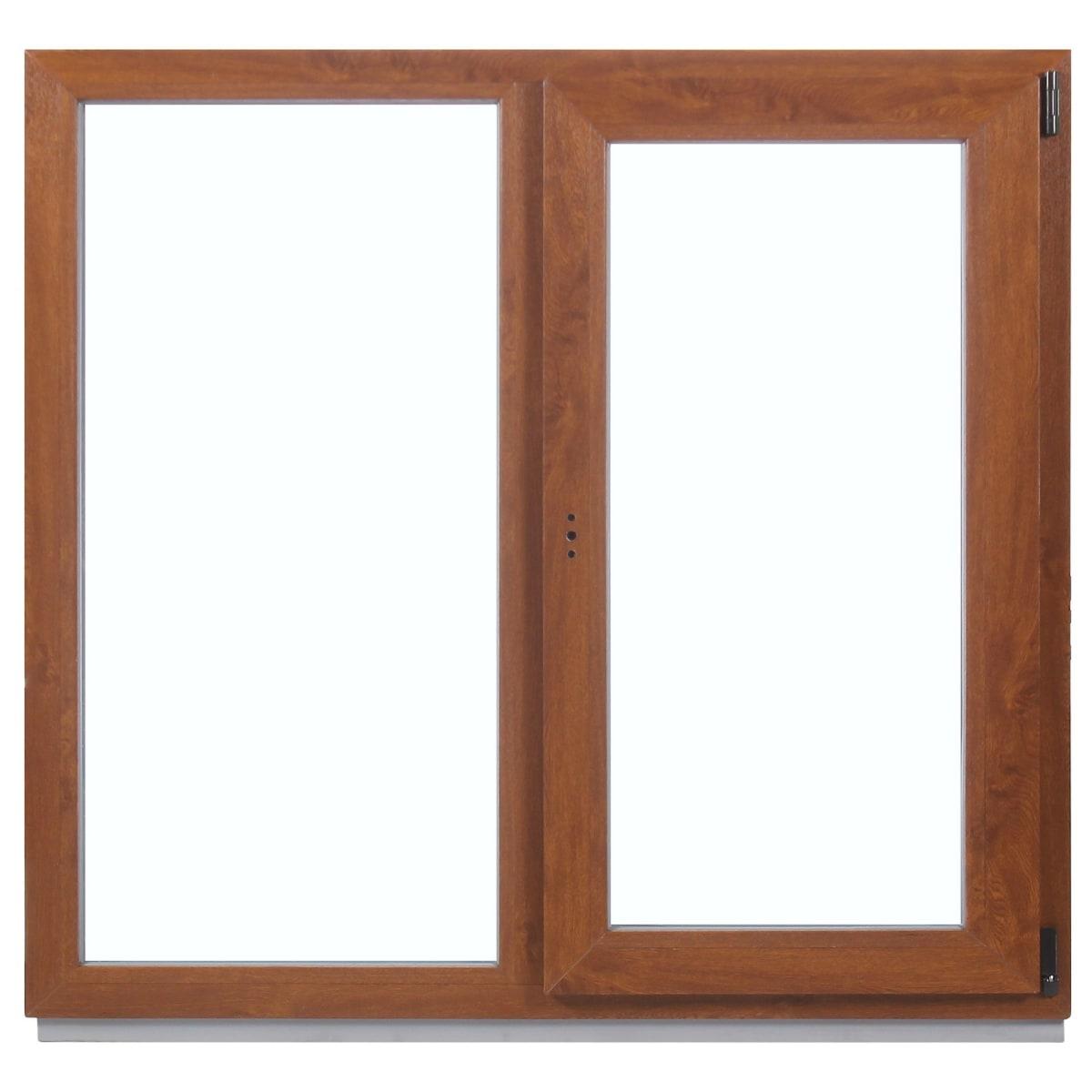 Окно ПВХ двухстворчатое, 120x120 см, глухое/поворотно-откидное правое