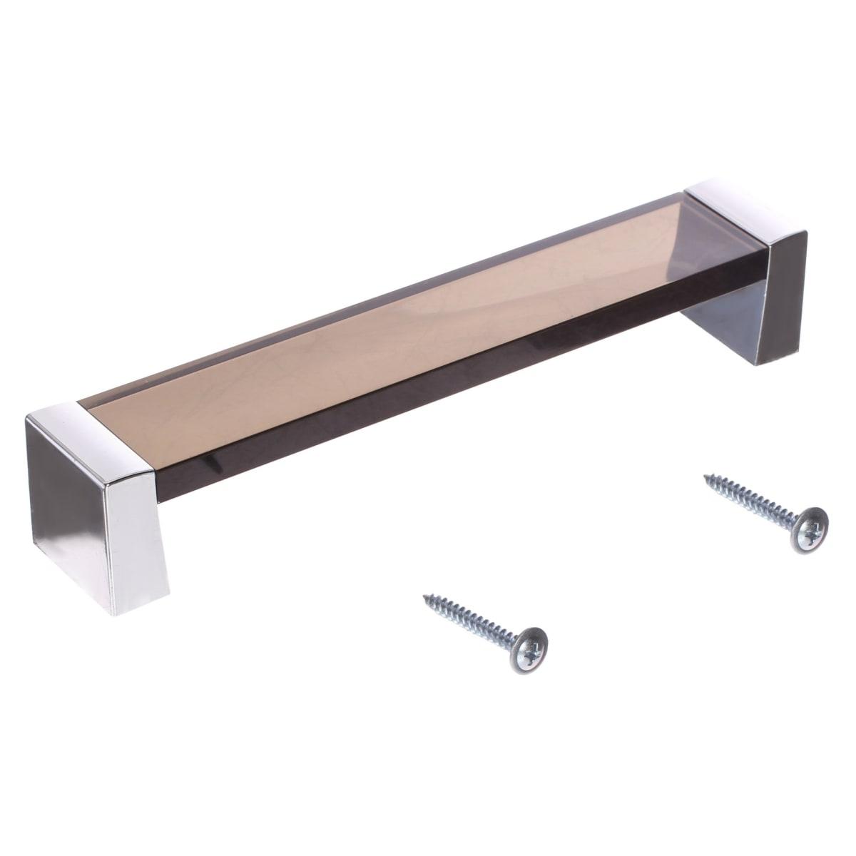 Ручка-скоба 83, цвет коричневый/серебро