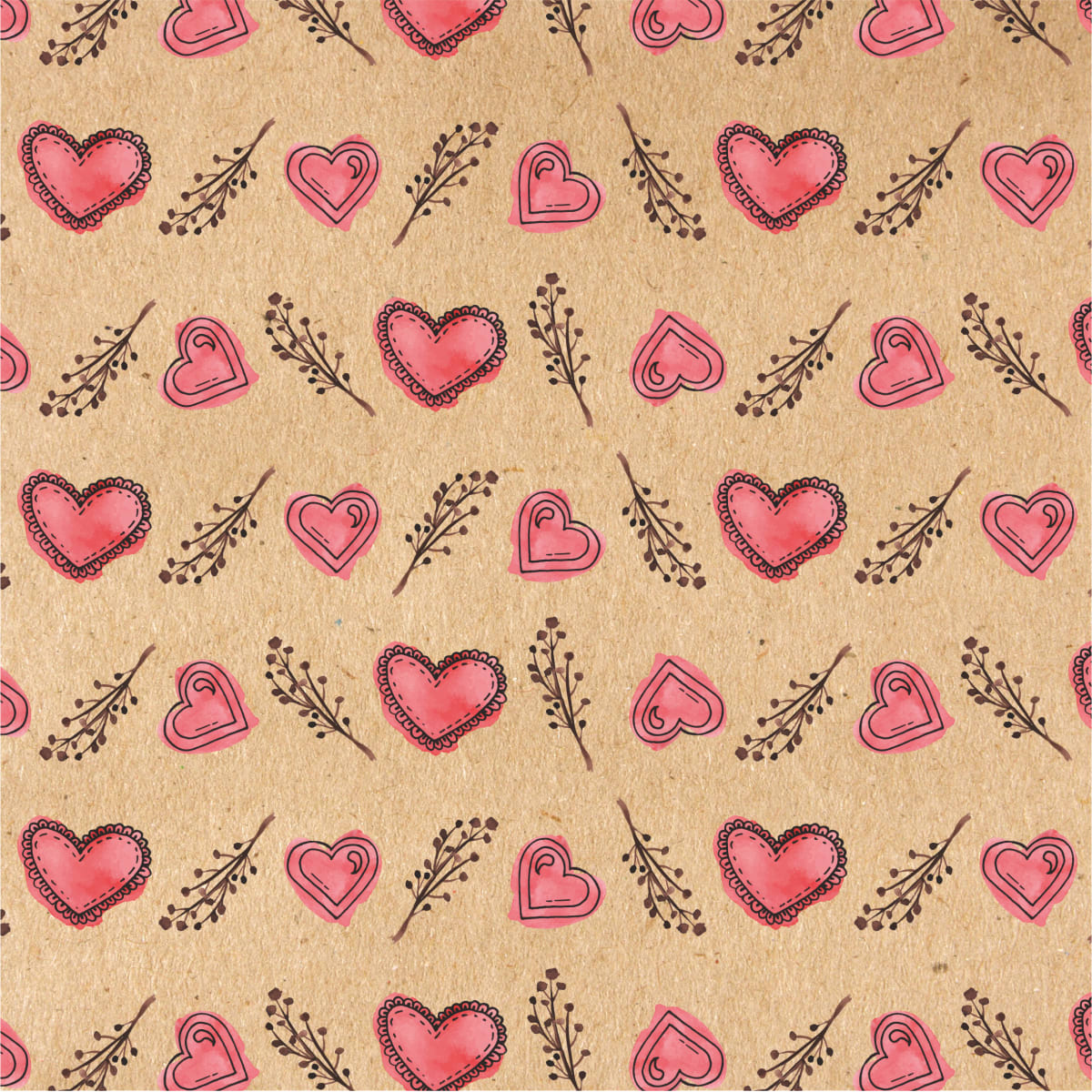 Бумага упаковочная крафт «Сердечки» 50х70/2 листа