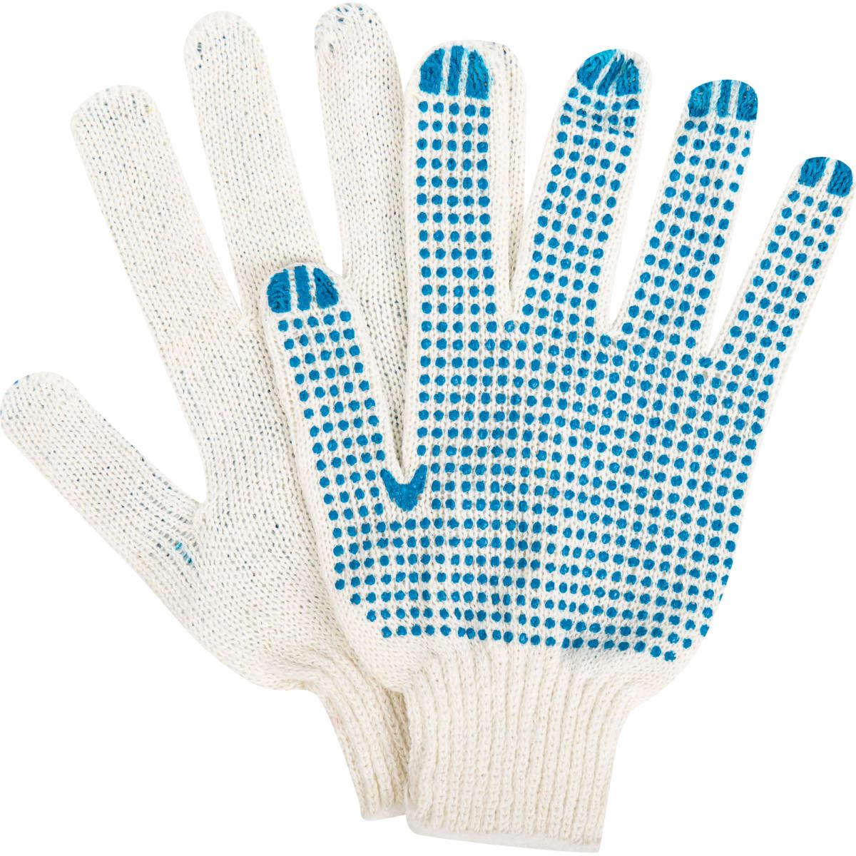 Перчатки трикотажные, ПВХ, 7 класс, упаковка 6 пар