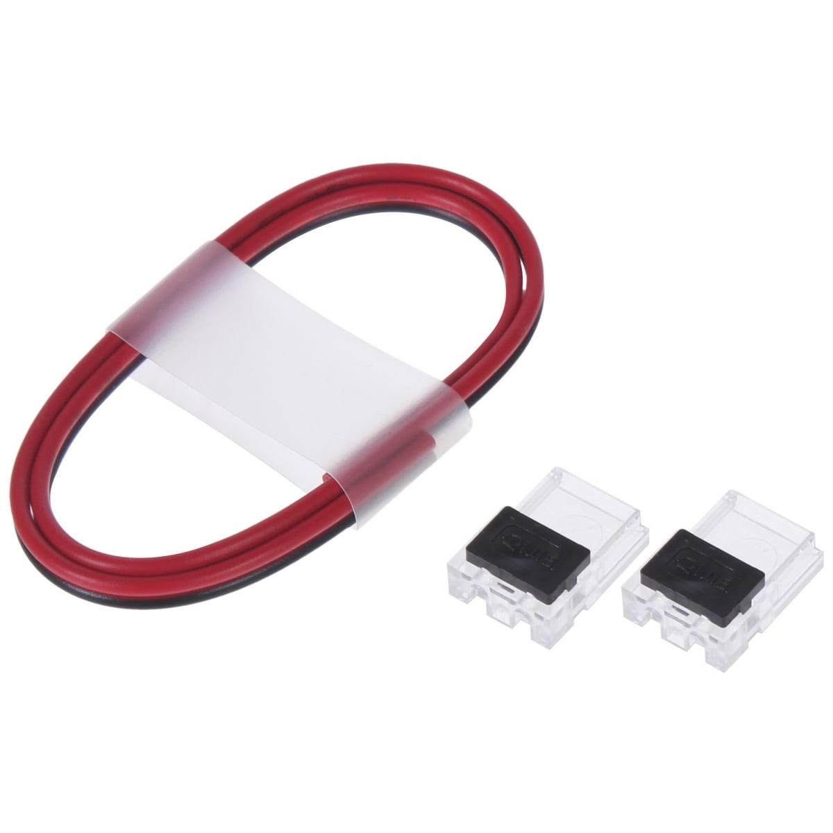 Комплект для светодиодной ленты: 2 клипсы, 2 разъёма «игла», провод 30 см, 8-10 мм, IP20