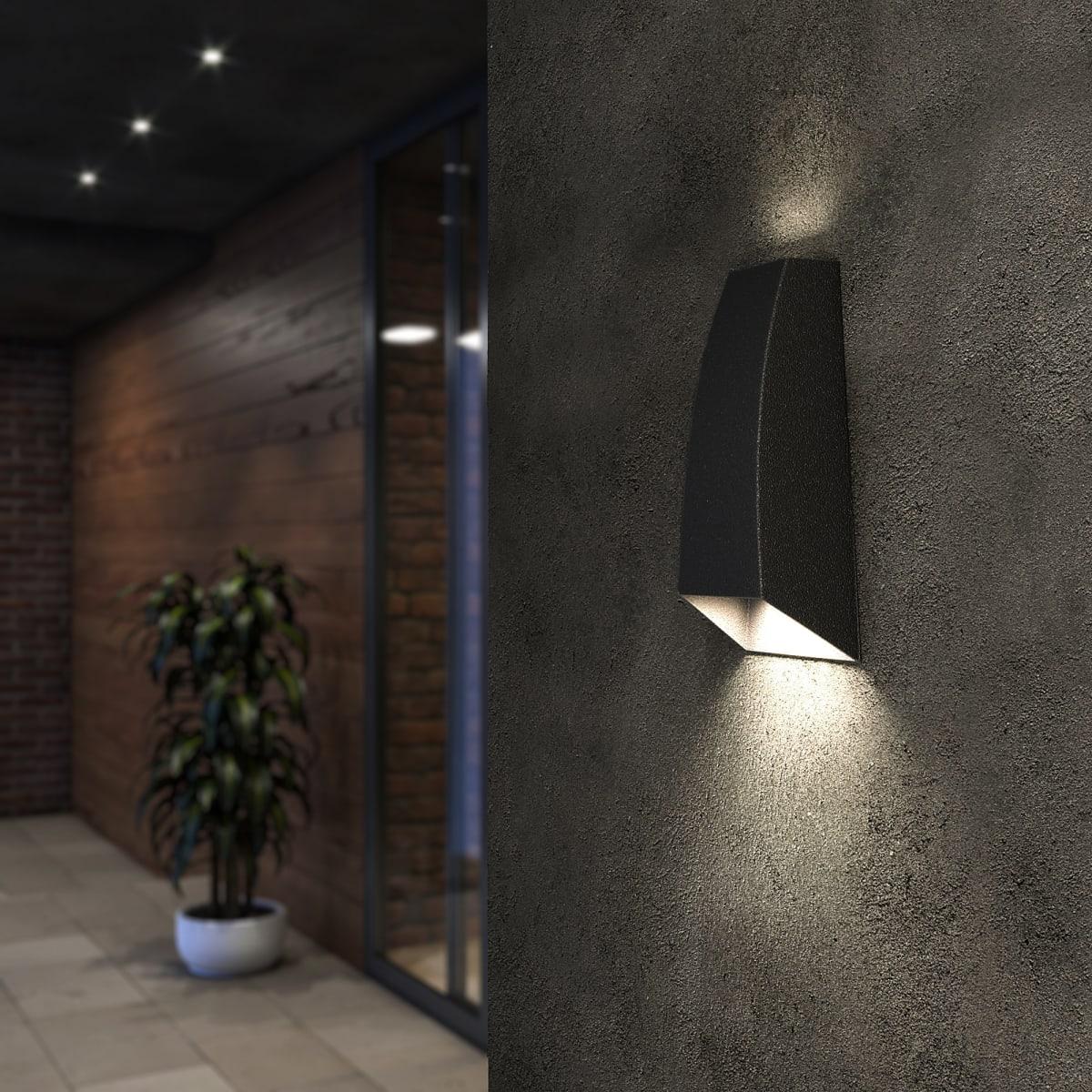 Светильник настенный светодиодный уличный Techno 1016 2 Вт IP54 цвет чёрный