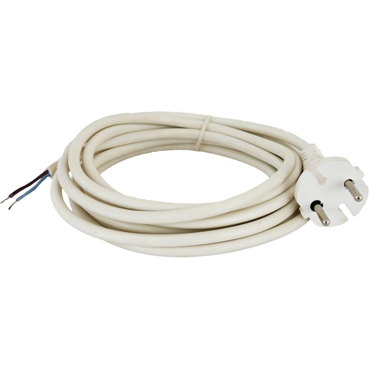 Шнур сетевой без заземления, 1.5 м, цвет белый